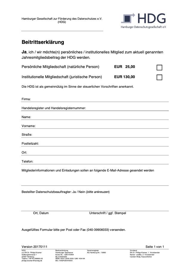 Antrag HDG e.V. Mitgliedschaft